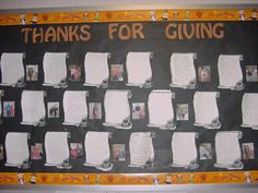 This bulletin board is done around Thanksgiving.  The class brainstorms people in their school that they are thankful for.  Each child choose one person and writes a thank-you letter to them.  The teacher then took the child's picture with their chosen person.