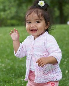Fairy Lace Baby Cardi | AllFreeKnitting.com