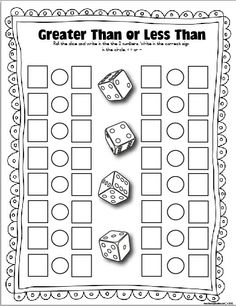 Greater than or less than recording sheet.  Perfect for whole group practice- just give everyone a pair of dice.