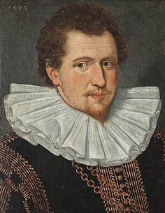 English: Portrait of a gentleman, bust-length, in an embroidered black coat and white ruff, with an earing adorned with pearls and a serpent entwined around an anchor. 1593.