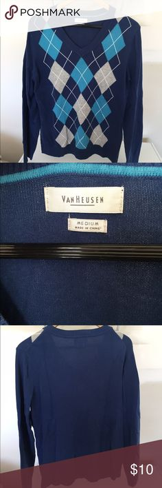 Blue Argyle sweater Size M Long sleeved blue argyle sweater. Light weight sweater. It's a Men's size M but I wore it as a Women's Larger. Sweater looked great on me. I live in a hot state now and don't need sweaters as much anymore. Mint condition. Van Heusen Tops Sweatshirts & Hoodies