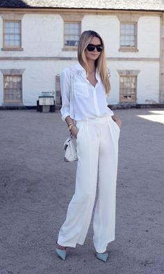 White Trouser Pants 2017 Street Style