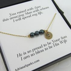 Mother of the groom Personalized Bracelet with Thank You Card, mothers gifts, gifts for mother in law, bridal party jewelry, mother card,