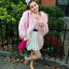 Adorable little Tooth Fairy in her pink Appaman Faux Fur Coat 🍭🎃✨ #appamanhq #vip #girlsstyle #sweettooth