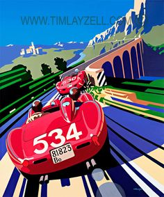 Last Great Road Race - Tim Layzell  Peter Collins hurls his Ferrari 335S into a slide in pursuit of Giorgio Scarlatti's Maserati 300S as they both forge a...