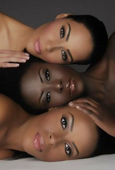 3 beauties, staked, soft make-up, hair pulled back
