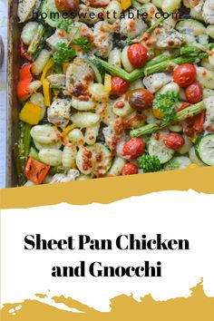 Sheet Pan Chicken and Gnocchi make a quick and simple meal. Just toss chicken, gnocchi, and vegetables together in one pan and roast for an easy and flavorful weeknight meal. Healthy Appetizers, Healthy Meals, Easy Meals, Easy Chicken Dinner Recipes, Pasta Recipes, Chicken And Gnocci, Gnocchi Dishes, How To Cook Gnocchi, Food Heaven