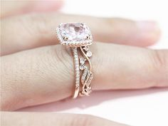 14K Rose Gold Engagement Ring 9mm Cushion Pink by LoveGemArts