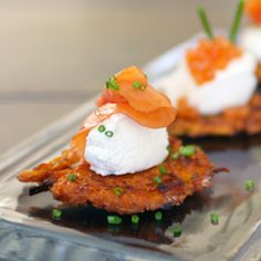 Looks so good- I'm trying it this weekend! Sweet Potato Latkes with Maple Mascarpone and Smoked Salmon