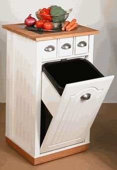 Venture Horizon Butcher Block Bin Kitchen Island, White   Traditional   Kitchen  Islands And Kitchen Carts   HomeFurnitureShowroom