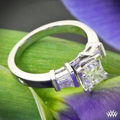 """Baguette"" Diamond Engagement Ring featuring .90ct Princess Cut Diamond"