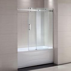 Schon Judy 60 in. x 59 in. Semi-Framed Sliding Trackless Tub and Shower Door in Chrome with Clear Glass SC70013 at The Home Depot - Mobile