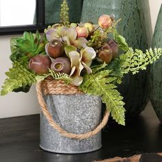 Hydrangea Pod Succulent Arrangement