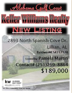 2893 North Spanish Cove Dr, Lillian...MLS#217128...$189,000...3 Bed 2 Bath... on a corner double lot & has many outstanding features plus Spanish Cove Clubhouse amenities and Bay Access! Upgrades include: updated kitchen, 3 car garage, a new circle driveway, outdoor kitchen, workshop, gazebo, fish cleaning station, boat/carport, plant misting system, reflective insulation in the attic, and a heat pump/mini split in the sunroom....Please Contact: Pam Martin @ 251-269-8864
