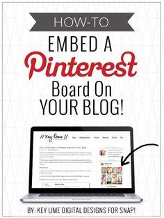 How To Add A Pinterest Board in a Blog Post - www.keylimedigitaldesigns.com Social Media Apps, Social Media Marketing, Pinterest Board, Pinterest For Business, Pinterest Marketing, How To Start A Blog, About Me Blog, Blogger Girl, Entrepreneur Ideas
