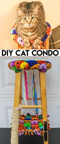 Cats Toys Ideas - DIY Cat Condo made from an Old Stool - Want to create a Cat Tree for your cat? Make this Cat Condo from an old stool. This cat perch includes a scratching post and hammock. #CatsLoveNutrish [ad] - Ideal toys for small cats #hangingcattoys