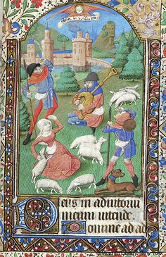 Book of Hours, MS M.1093 fol. 57r - France, Rouen, ca. 1470 - Shepherds: Annunciation