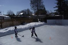 Spring scrimmage March 22nd 2015, on the Winchester Invitational Backyard Ice Hockey Rink.