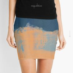 Summer Beach Abstract Orange Blue by Menega Sabidussi  @redbubble  Women Casual Designer Print Clothing #skirt #clothing #apparel #wearableart #fashion #miniskirt #redbubble
