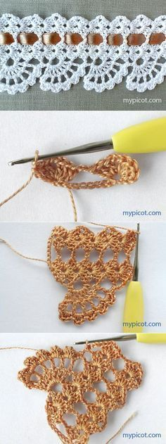 If you looking for a great border for either your crochet or knitting project, check this interesting pattern out. When you see the tutorial you will see that you will use both the knitting needle and crochet hook to work on the the wavy border. Crochet Edging Patterns, Crochet Lace Edging, Crochet Borders, Crochet Doilies, Crochet Flowers, Crochet Stitches, Knitting Patterns, Free Knitting, Shawl Patterns