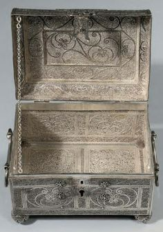 Interior of one of a Pair 17th / 18th Century Dutch / German Silver Filigree Caskets from 2010 Cat. of Viljoen and Roell. W. 17cms. D.11.6cms. H.13cms.