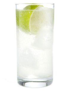 Gin Rickey 1/2 ounce lime juice 2 ounces gin -- London dry gin club soda