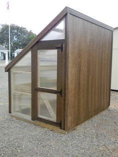 Have a spot next to your house or fence? This 6'x8' Lean-to Style Greenhouse from Backyard Unlimited is perfect for such locations with Mushroom stain on its solid back wall, 8 mm clear UV-protected polycarbonate on 3 sides, and 50-year composite trim and siding. Amish built and available in California