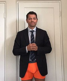 He once said in a convention that whenever he wears orange underwear, he has a lucky day.... Misha, it seems like orange underwear brings us luck too 🙊
