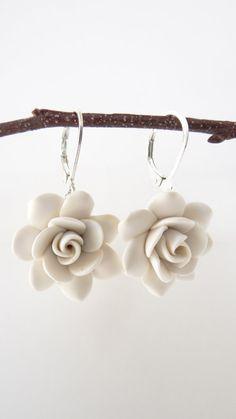 White Gardenia Earrings White Flower Earrings White by Diaszabo