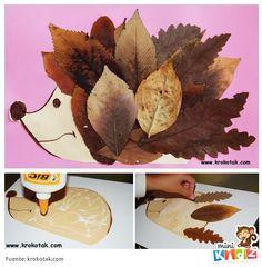 Una manualidad fácil y divertida: erizo con hojas secas