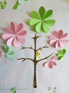Finally I finished the Spring . Paper Flowers Diy, Flower Crafts, Diy Paper, Paper Art, Paper Crafts, Diy For Kids, Crafts For Kids, Arts And Crafts, Book Crafts