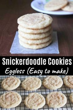 No Egg Dessert - Food - Eggless snickerdoodles cookies recipe – A snickerdoodle is type of soft sugar cookie dusted with - Eggless Sugar Cookies, Eggless Cookie Recipes, Cinnamon Sugar Cookies, Eggless Desserts, Eggless Baking, Baking Recipes, Vegan Sugar Cookie Recipe, No Egg Sugar Cookies, Mug Cakes