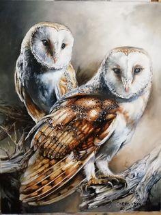 Oil painting by Cheryl Van Dyk Wildlife Art, Cheryl, Owls, Van, Bird, Painting, Animals, Animais, Animales