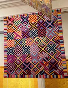 Kaffe Fassett 'X-factor' quilt, photo by Heike Gittins at made with loops.  June 2013 exhibit at the Welsh Quilt Centre