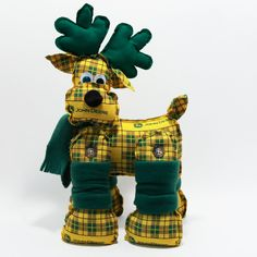 John Deere stuffed Reindeer -  Yellow and Green Plaid- Decorative stuffed reindeer - Unique John Deere gift. $14.00, via Etsy.