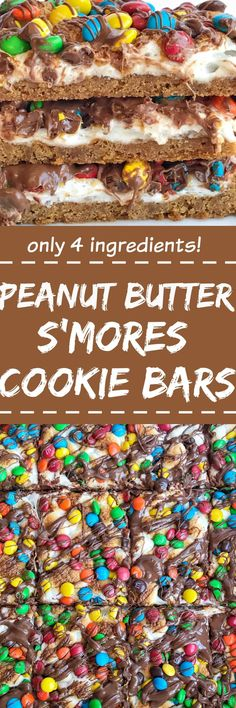 Four ingredients are all you need for this super easy, quick to make, and delicious peanut butter s'mores cookie bars! Get the kids involved and make this fun dessert in a matter of minutes. Tastes just like a toasty s'mores with peanut butter and chocolate candies | togetherasfamily.com