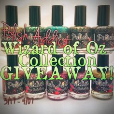 Lace and Lacquers: POLISH ADDICT: Wizard of Oz Collection GIVEAWAY! 3/17 - 4/7  http://www.laceandlacquers.com/2013/03/polish-addict-wizard-of-oz-collection_17.html#