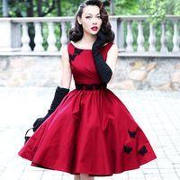 Le palais de la vendimia elegante rojo de la mariposa de encaje 2017 nueva llegada del resorte hepburn vestido de fiesta vestidos de cintura alta de las mujeres a-line dress