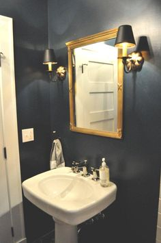 Hague blue for downstairs loo? Powder Room Paint, Blue Powder Rooms, Downstairs Cloakroom, Downstairs Toilet, Bathroom Inspo, Bathroom Inspiration, Bathroom Ideas, Hague Blue Bathroom, Navy Bathroom
