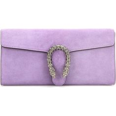 Gucci Dionysus Crystal-Embellished Suede Clutch ($1,500) ❤ liked on Polyvore featuring bags, handbags, clutches, purple suede handbag, gucci, gucci pochette, lilac handbag and gucci clutches