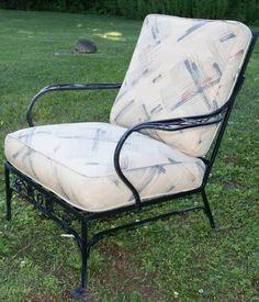 Salterini 1920u0027s Wrought Iron Arm Chair Mid Century Garden Patio Furniture