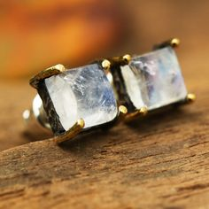 Square cabochon moonstone earrings in silver bezel and brass prongs setting with sterling silver post and backing