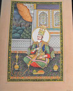Indian Miniature Painting On Carton Featuring The Emperor Akbar Mixed Media