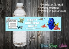Custom // Personalized // Finding Dory Birthday Party Water