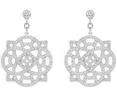 Inspired by flowers, filigree, clear crystal earrings - jewellery