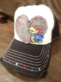 LOVE KU Kansas Jayhawks Bling baseball cap by BlingirlSpirit, $28.95 this is a kind of hat that u would wear at a KU game