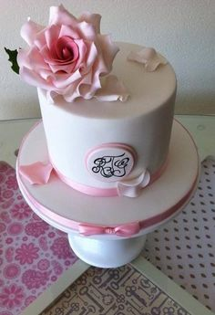 Simple pink & white small wedding reception couples cake