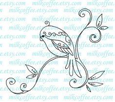 Timbre numérique oiseaux Swirly