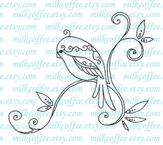 Digital Stamp Swirly Bird
