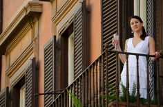 Taken while on our trip to France and Italy - My Wife on the balcony of our hotel in Rome